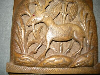 A Lovely Pair of Light Oak Carved Bookends with Deer in Forest Scenes