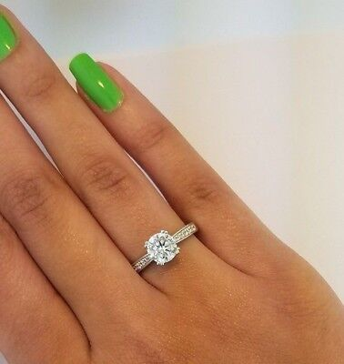 Diamond Engagement Wedding Ring 14k Solid White Gold 1.25 ct Round Cut
