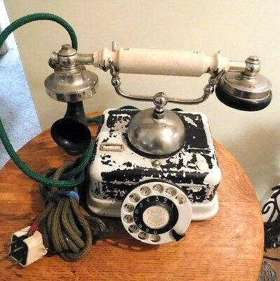 French Style Antique Vtg  Rotary Telephone Deco  Craddle Dial Desk