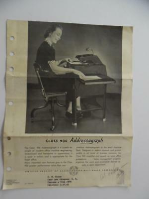 c.1940s Class 900 Addressograph Catalog Sheet Vintage Office Machine ORIGINAL