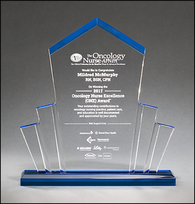 """**clear Acrylic Tower Award 10"""" X 10.75"""" With Blue Highlights ~ Engraved Free~"""
