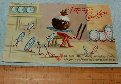Antique Christmas Postcard Comical Xmas Pudding on legs Wilt & Kray c1900-20s