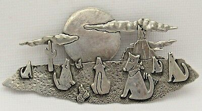 """Big 4"""" JJ Jonette Jewelry Coyotes Wolf Howling at Moon Cactus Clouds Pin Brooch"""