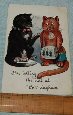 Antique Vintage Postcard 2 Cats Telling the Tail at Birmingham W & K London