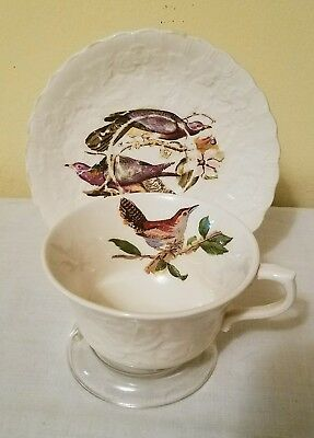 ANTIQUE Alfred Meakin BIRDS OF AMERICA Cup & Saucer Band Tailed Pigeon #367