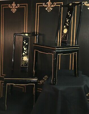Gorgeous Pair Of Chinese Black Lacquer Chairs With Mother Of Pearls