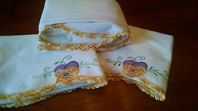 Vintage Hand Embroidered/Appliqued/Lace Purple Pansy Sheet/2 Pillowcases-UNUSED