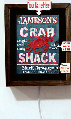 Personalized Your Name Crab Shack Red Lobster Seafood Diner Light Lighted Sign