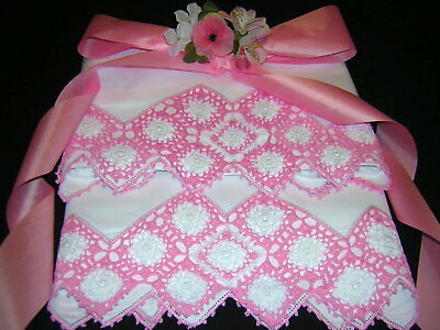 Lovely PINK & WHITE Hand Crochet Vintage Pillowcases Cotton COTTAGE MOOD!