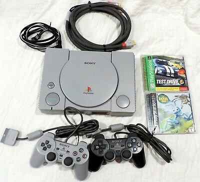 GREY SONY PLAYSTATION 1 PS1 System Console w 2Controllers