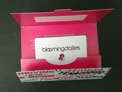Bloomingdale's Gift Card, Save Pink, New Limited, Collectible, Mint