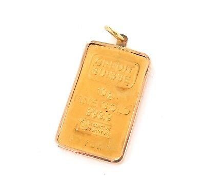 .VINTAGE CREDIT SUISSE 999.9 FINE GOLD 10G BAR No 577651 IN 14CT GOLD FRAME.