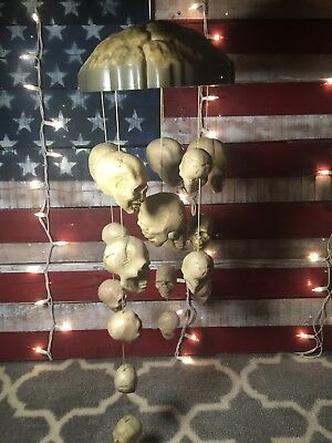 gemmy halloween prop haunted skulls wind chimes animated sound
