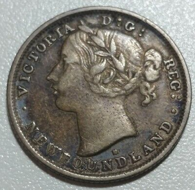 1876 H Newfoundland 20 Cent Silver. Very low Mintage. High Grade with toning.