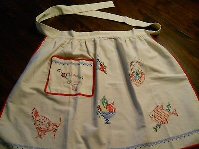 Red Kitchen Vintage Apron Hand Embroidered Chicken Fish Fruit Pocket Decor