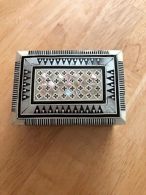 Egyptian Wooden Inlaid Mother of Pearl Small Jewelry Ring Trinket Box - NEW
