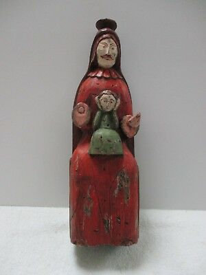 Vintage Hand Carved Wood Man & Folk Art Southwest Us Colonial Spanish Inspired