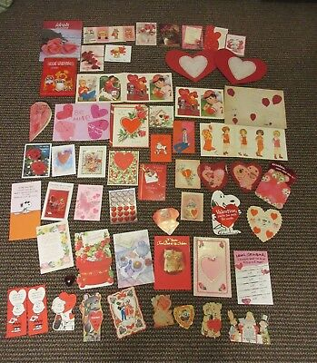 Lot 100 Vintage Old Antique Valentine's Day Cards Hearts Cute Animals Love Kids