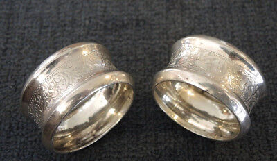 PAIR ANTIQUE STERLING SILVER NAPKIN RINGS BRIGHT CUT NOT ENGRAVED H/M 1922 22g