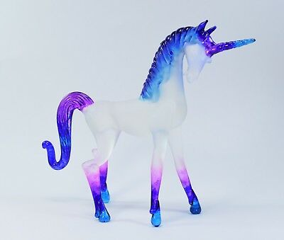 Unicorn Blue Purple Pink Figurine of Blown Glass Crystal