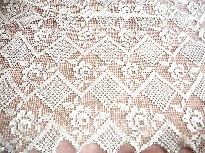 Antique  hand made net lace curtain in perfect condition