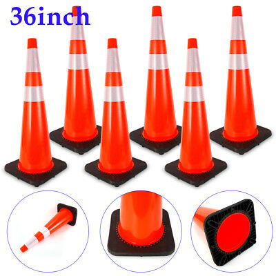 """6x 36"""" Road Traffic Cones Reflective Overlap Parking Emergency Safety Cone Red"""