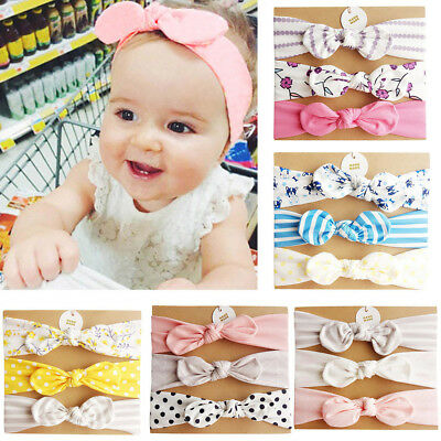 3Pcs Kids Floral Headband Hair Girls baby Bowknot Accessories Hairband Set