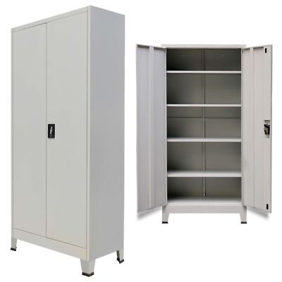 Home Office Cabinet With 2 Doors Steel File Storage Organizer Cupboard 4 Shelves