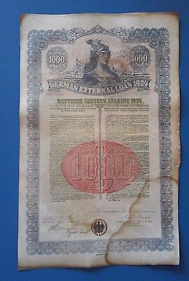 ~RARE~ GERMAN EXTERNAL LOAN 1924 $1000 Dollars Uncancelled Dawes Loan