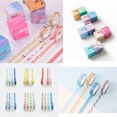 4pcs/set Washi Tape DIY Diary Decor Scrapbooking Masking Adhesive Colorful Tapes