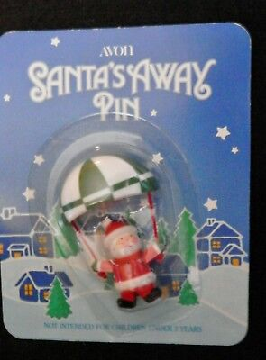 Vintage Christmas Pin-Avon-Santa's Away Pin-1986-original packaging-unopened