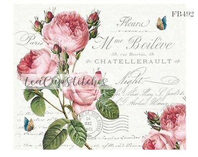 Vintage Victorian Pink Roses~Paris~French~FABRIC BLOCK~Shabby Cottage Chic~492