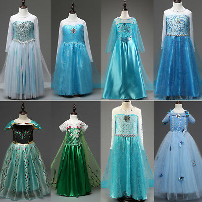 AU Girl Dress Princess Anna Elsa Cosplay Frozen Costume Party Fancy Dress Up Lot
