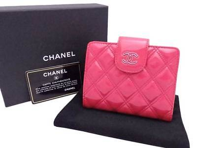 f778973db83b Auth CHANEL CC Logo Double Stitch Short Bifold Wallet Pink Patent Leather  e36714