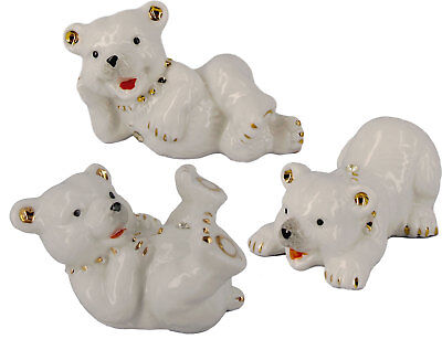 Complete Set of 3 Miniature Ceramic Bears (8cms)