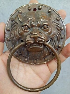 Collectable!China Statue Fengshui Brass Dragon Head Mask Door knocker expel evil
