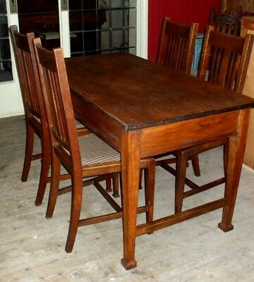 Antique Arts & Crafts solid Oak Table Dining School Refectory Library