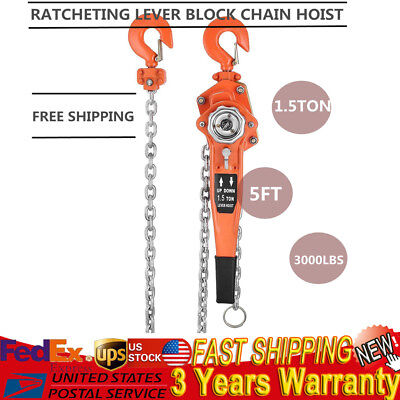 1-1/2 3000Lbs Ton Lever Block Chain Hoist Ratchet Type Comealong Puller Lifter