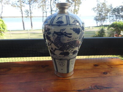 Antique Chinese Early Ming Dynasty Baluster Vase with  Qilin Depiction