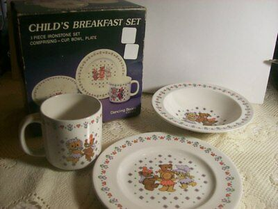 3 Piece Ironstone Child's Breakfast Set Cup Bowl Plate Dancing Bears
