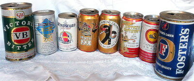 120 BEER CANS from the late 80s early 90s - from Aussie NZ UK & Europe (EMPTY)