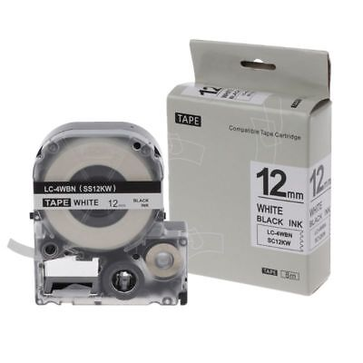 Black on White Label Tape Compatible Epson Label Tapes 12mm For LW-400 LW-300