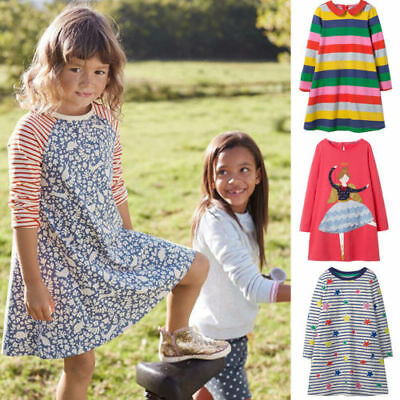 e728557ceff19 GIRLS CHRISTMAS STRIPED Dresses Animal Appliques Dress Kids Long Sleeve  Clothes