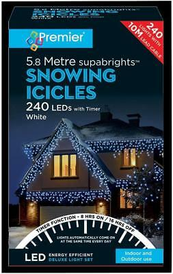 240 LED Snowing Icicle White Lights with Timer - PREMIER