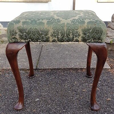 A Very Pretty & Elegant Antique Stool with Damask Fabric Top & Queen Anne Legs