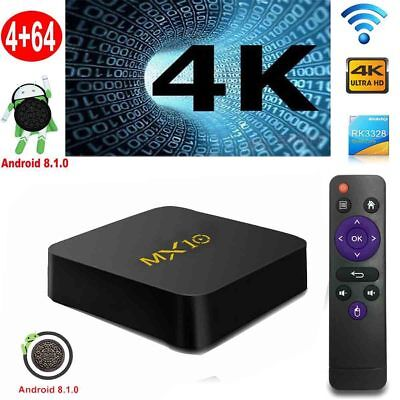 2019 MX10 Android 8.1 4K Media Smart TV Box RK3328 Quad Core 4GB+64GB WIFI DE
