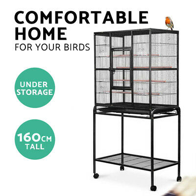 Pet 160cm Bird Cage Parrot Aviary Pet Stand-alone Budgie Perch Wheels Castor