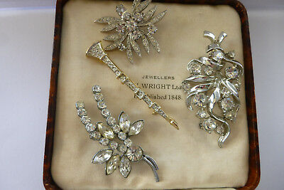 Vintage Jewellery Mixed Lot Of Sparkling Rhinestone  Brooches Pins