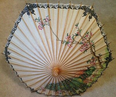 "Asian Peacock Paper Parasol Umbrella with Wooden Handle and Spokes 25"" Long"