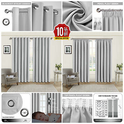 Thermal Blackout Silver Curtains Eyelet/Ring Top OR Pencil Pleat FREE Tie Backs